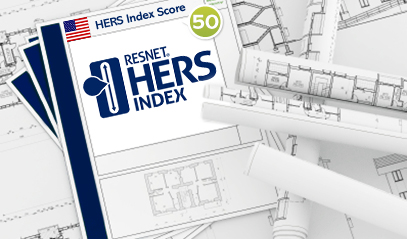 HERS Index logo and house blueprints