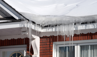 Ice dams on gutters