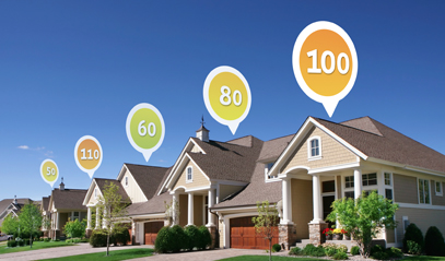 Row of homes with HERS Index Scores appearing above each in a bubble