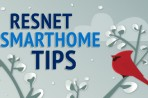 Snowy branch with text: RESNET SmartHome Tips