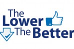 Image of slogan the lower the better with arrow pointing down and thumbs up