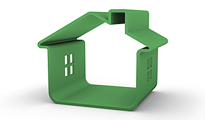 Green-colored model outline of a home.