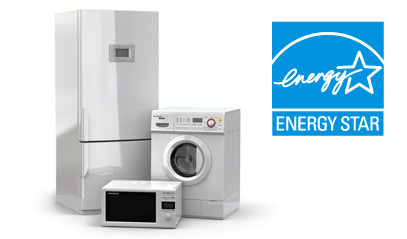 picture of ENERGY STAR logo and a refrigerator, washing machine and microvwave