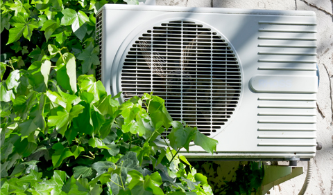 outdoor air conditioner partially covered by shrubbery.