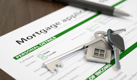 mortgage application form with keys