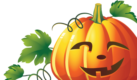 jack o'lantern with green leaves