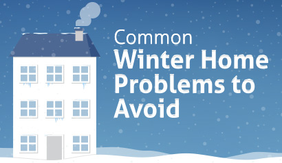 Infographic of a house with tips to avoid common winter home problems