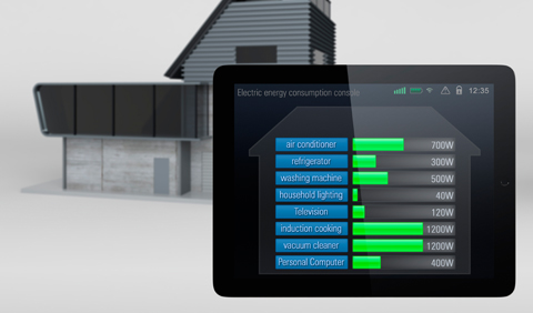 picture of a tablet with colored bars showing a home's energy usage.