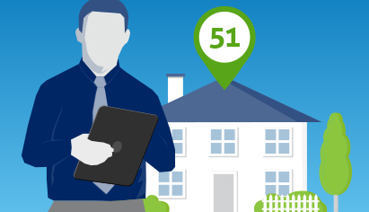 image of man with clipboard in front of home with HERS Index Score of 51