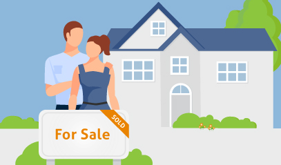 image of man and woman standing in front of a home with a for sale sign